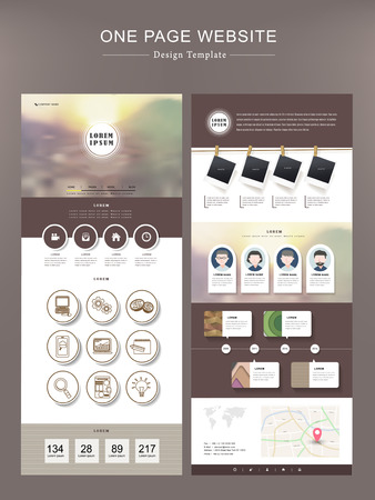 modern one page website template design in brown