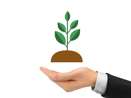 environmental suit: realistic hand holding plant isolated on white background