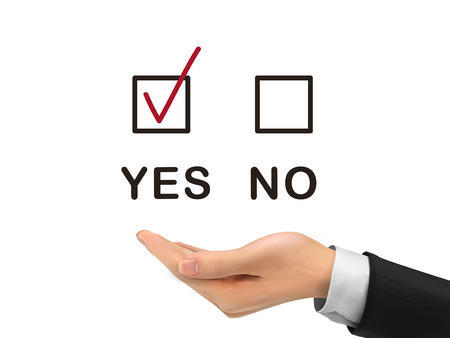 chosen: yes chosen by realistic hand over white background Illustration