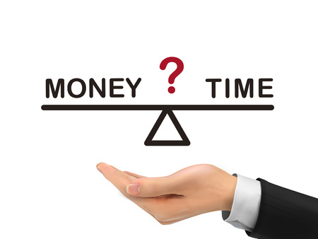 balance between time and money holding by realistic hand over white background Vector