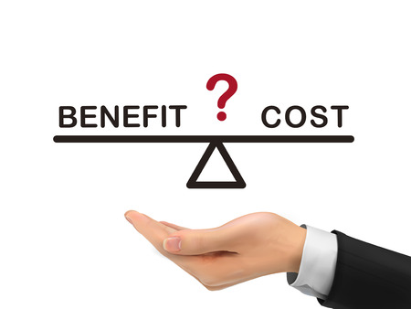 balance between benefit and cost holding by realistic hand over white background