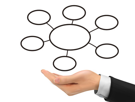 gist: business diagram holding by realistic hand over white background