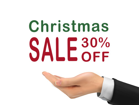 Christmas sale 30 percent off holding by realistic hand over white background Vector
