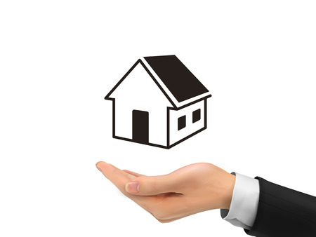 real estate icon holding by realistic hand over white background Vector