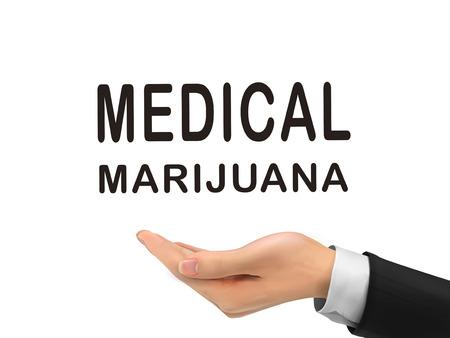 copy writing: medical marijuana words holding by realistic hand over white background Illustration