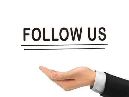 follow us: follow us words holding by realistic hand over white background