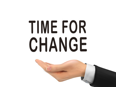 firmeza: tiempo de las palabras de cambio que sostienen con la mano realista sobre fondo blanco