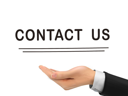 contact us words holding by realistic hand over white background