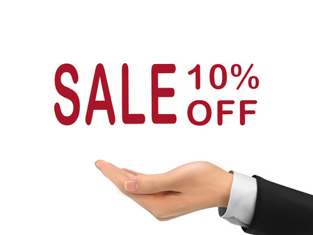 sale 10 percent off holding by realistic hand over white background Vector