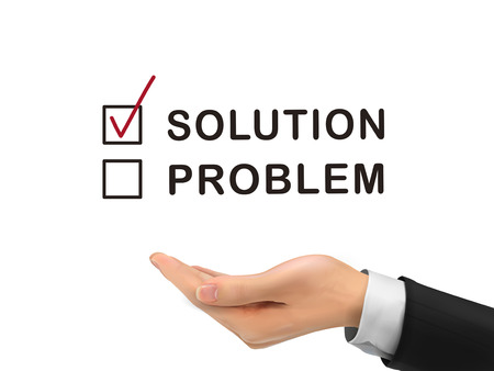 solution chosen by realistic hand over white background Vector