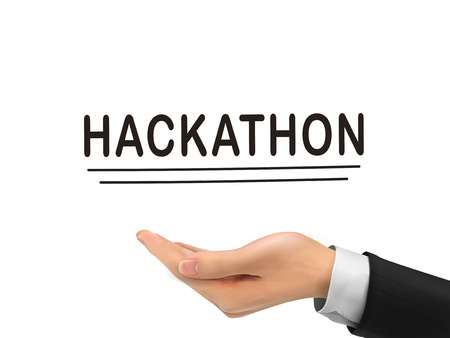 hackathon word holding by realistic hand over white background Vektorové ilustrace