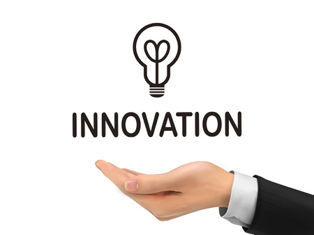 innovation word: innovation word holding by realistic hand over white background