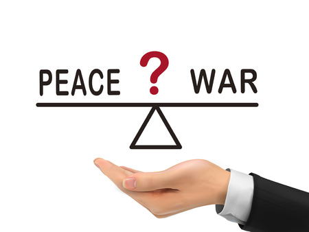 ungleichgewicht: Balance zwischen Frieden und Krieg Halten durch realistische Hand auf wei�em Hintergrund Illustration