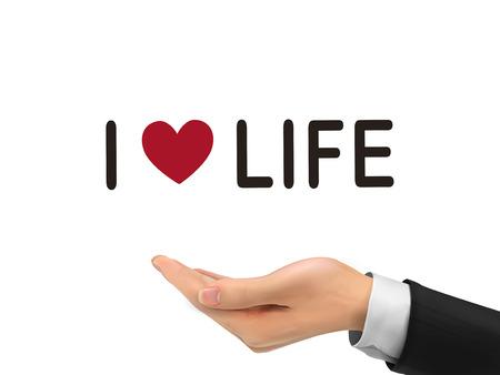 love of life: Amo le parole Life Holding mano realistica su sfondo bianco