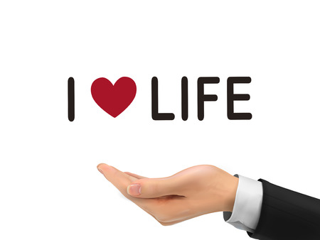 love life: I love life words holding by realistic hand over white background