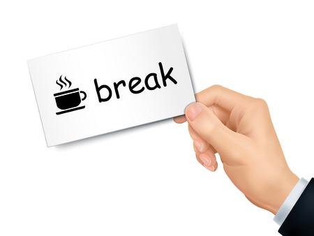 tiredness: break card in hand isolated over white background