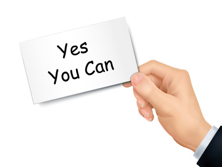 can yes you can: yes you can card in hand isolated over white background Illustration