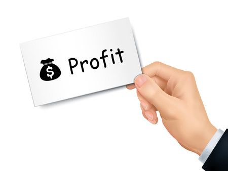 profit card in hand isolated over white background Illustration
