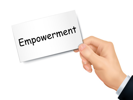 empowerment: empowerment card in hand isolated over white background