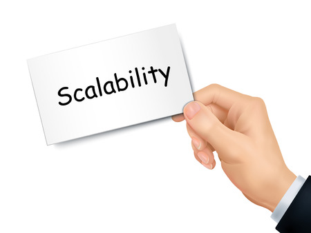 scalability: scalability card in hand isolated over white background Illustration
