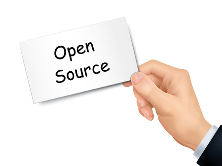 open source: open source card in hand isolated over white background