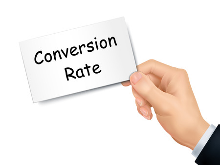 conversion: conversion rate card in hand isolated over white background