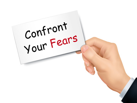 overcoming: confront your fears card in hand isolated over white background Illustration