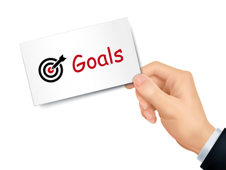 goals card in hand isolated over white background