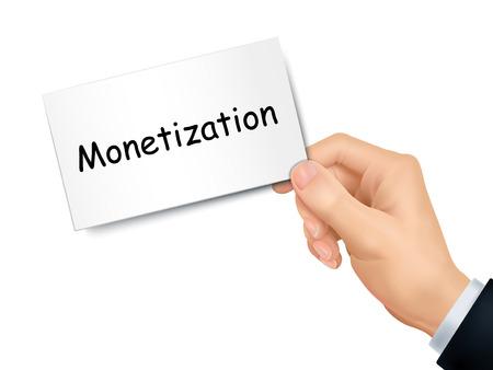 monetization: monetization card in hand isolated over white background Illustration
