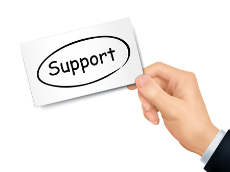 supportive: support card in hand isolated over white background Illustration