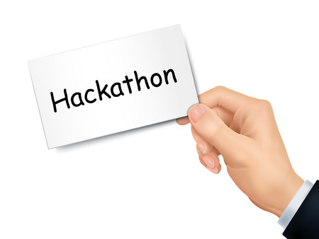 hackathon card in hand isolated over white background