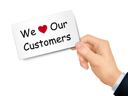 we love our customers card in hand isolated over white background Vector