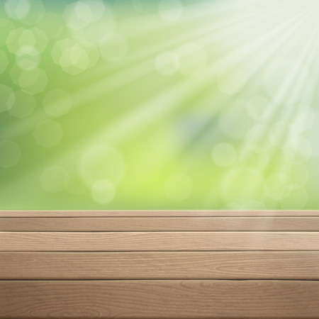 foreground: close-up of wooden table over green blurred background Illustration