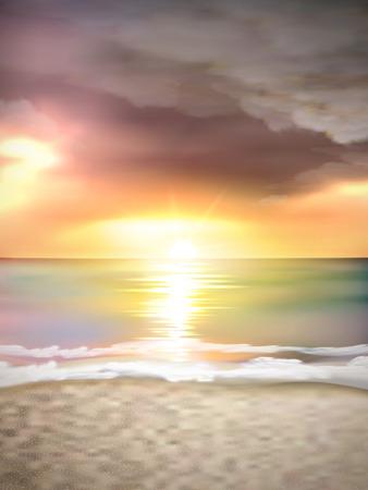 dark cloud: Paisaje puesta del sol en la playa con la nube oscura Vectores