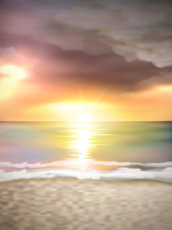 sea side: sunset scenery on the beach with dark cloud Illustration