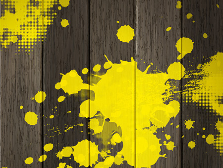 plywood: close-up look at wooden texture background  with yellow stain Illustration
