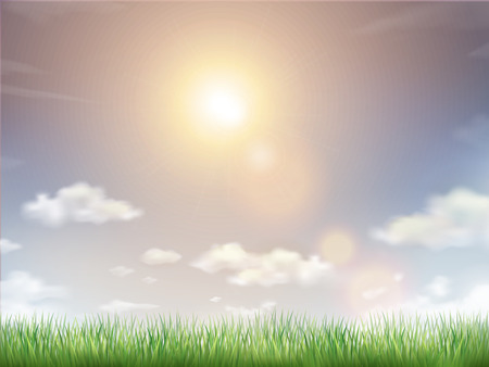 fluffy clouds: blue sky and field of green grass background