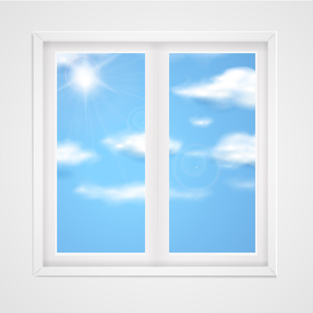 idyllic: blue sky with shiny sun in the window Illustration