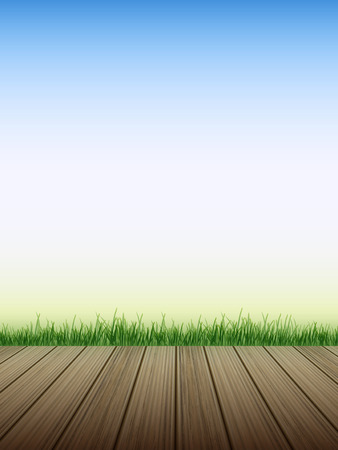 wooden floor with grass over blue sky background