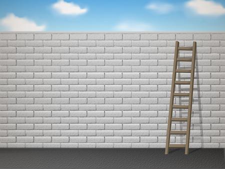 wooden ladder leans on white brick wall over blue sky Illustration
