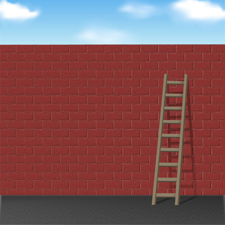 high way: wooden ladder leans on red brick wall over blue sky
