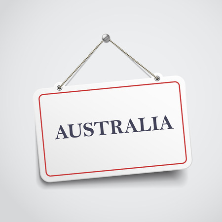 Australia hanging sign isolated on white wall Vector