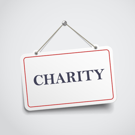 together voluntary: charity hanging sign isolated on white wall Illustration
