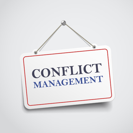 oppose: conflict management hanging sign isolated on white wall Illustration