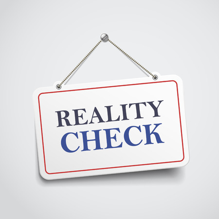 skeptical: reality check hanging sign isolated on white wall