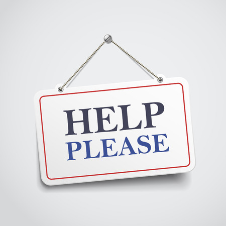 help please hanging sign isolated on white wall Ilustrace