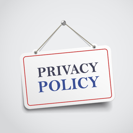 secret privacy: privacy policy hanging sign isolated on white wall Illustration