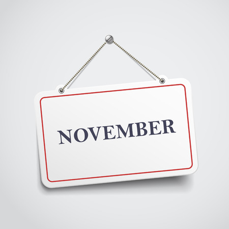 November hanging sign isolated on white wall