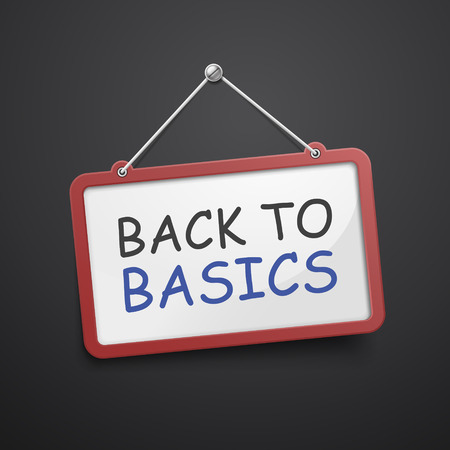 back to basics hanging sign isolated on black wall