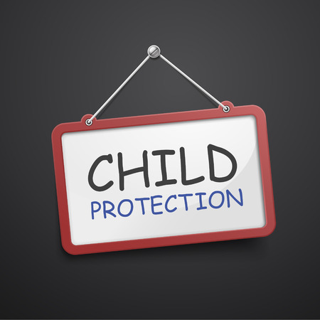 child protection: child protection hanging sign isolated on black wall